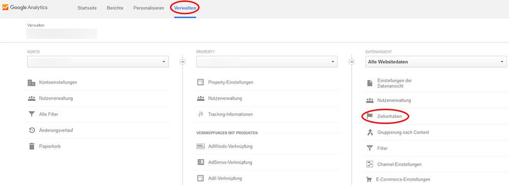 Zielvorhaben im Google Analytics Backend