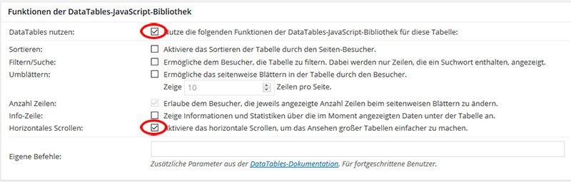 TablePress Tabellen scrollbar machen