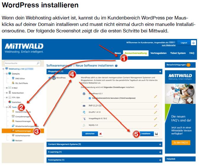 Screenshot aus dem Buch: WordPressinstallation bei Mittwald