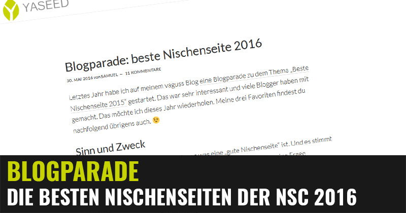 Blogparade: Die besten Nischenseiten der NSC 2016