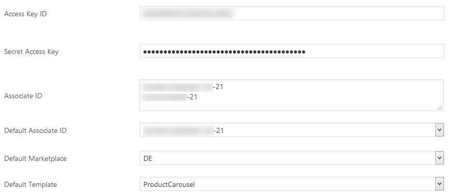 Amazon WordPress Plugin Einstellungen im Backend