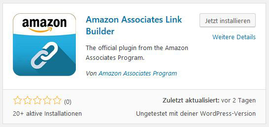 """Ein Screenshot des Suchergebnis im WordPress Plugin Verzeichnis bei der Suche nach """"Amazon Associates Link Builder"""""""