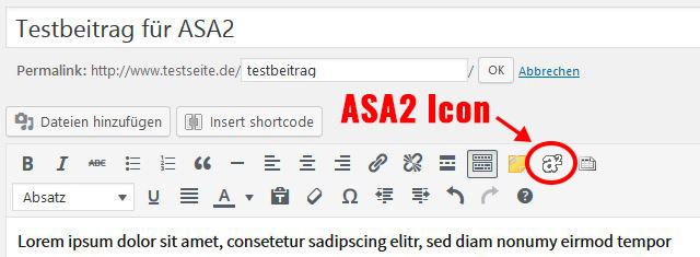 ASA2 Icon in der Werkzeugleiste von WordPress