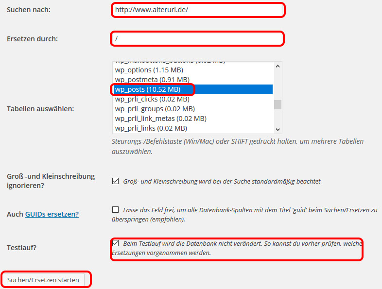 Screenshot aus dem Plugin Better Search Replace zur Änderung der internen Verlinkung
