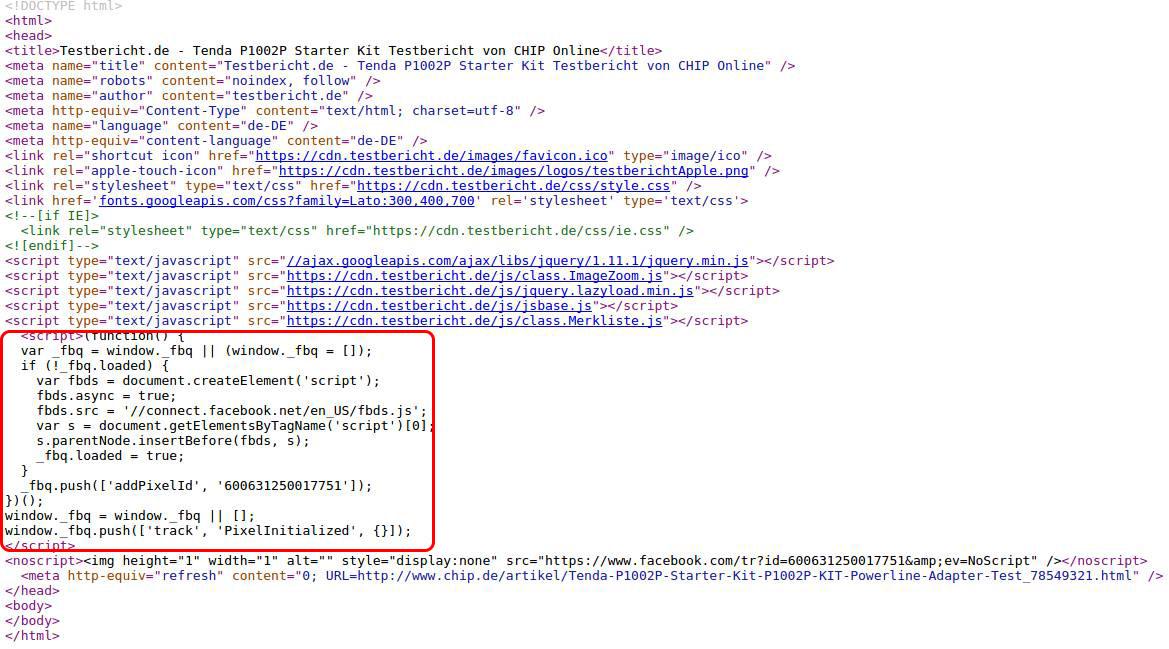 Facebook Tracking Cookie von testbericht.de