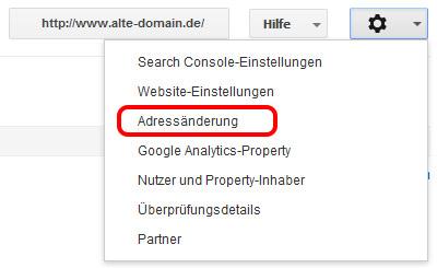 Webmaster Tools Adressänderung