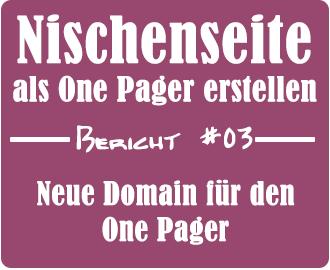 Nischenseite als One Pager erstellen - Bericht #03 - Neue Domain für den One Pager